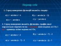 Перевір себе 1. Серед наведених функцій вкажіть спадну: а) у = arcsin x + π б...