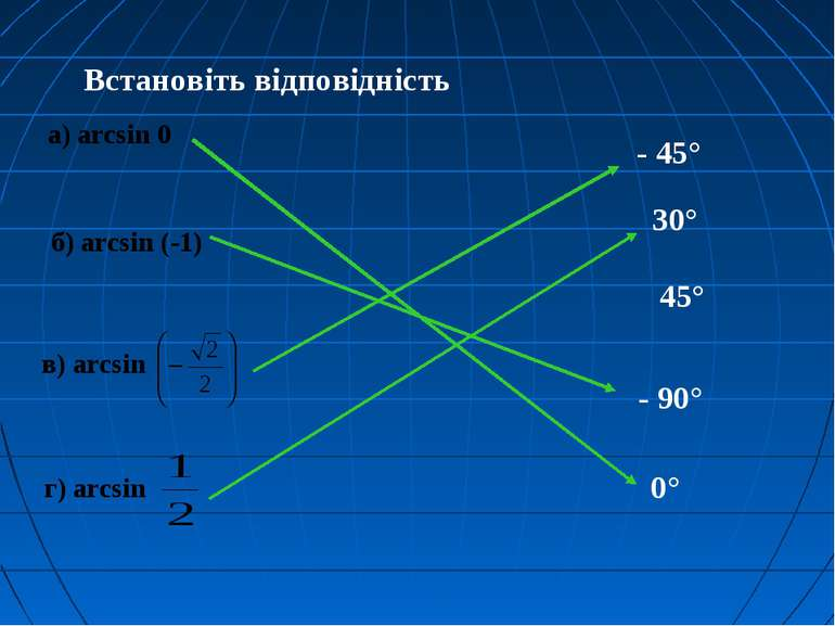 Встановіть відповідність а) arcsin 0 в) arcsin г) arcsin - 45° 45° 30° 0° - 9...