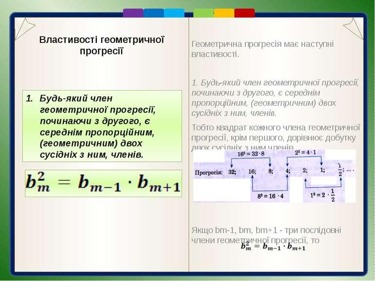 Геометрична прогресія має наступні властивості. Геометрична прогресія має нас...