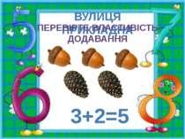 ВУЛИЦЯ ПРИКЛАДНА ПЕРЕВІРТЕ ВЛАСТИВІСТЬ ДОДАВАННЯ 3+2=5