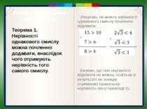 Почленне множення нерівностей Нехай а>b і c>d, а>0, b > 0, с>0, d> 0. Доведем...