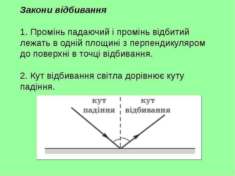 Закони відбивання 1. Промінь падаючий і промінь відбитий лежать в одній площи...