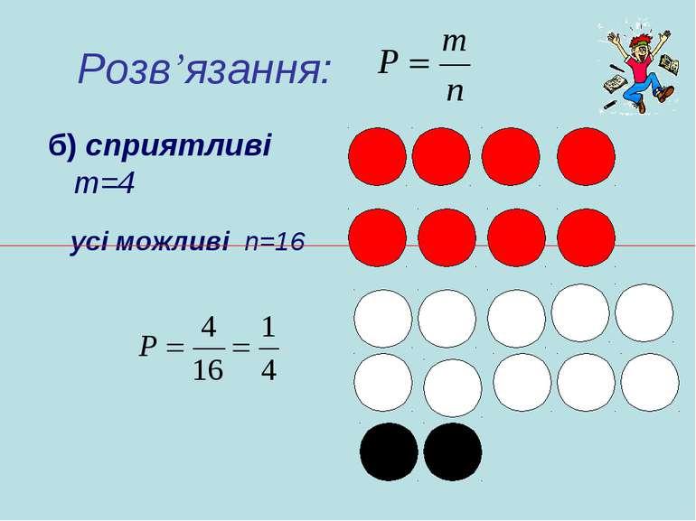 Розв'язання: б) сприятливі m=4 усі можливі n=16
