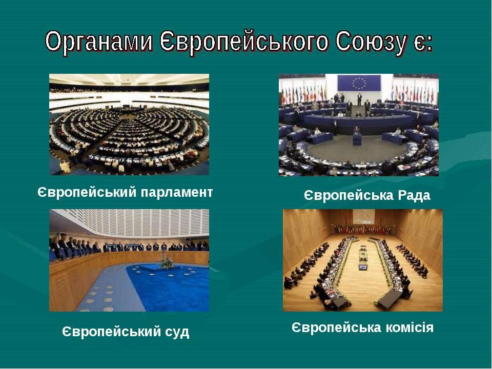Європейський парламент Європейський суд Європейська Рада Європейська комісія