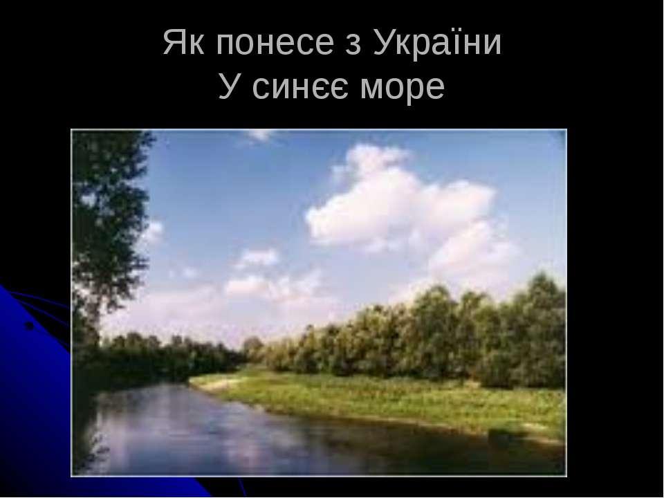 Як понесе з України У синєє море