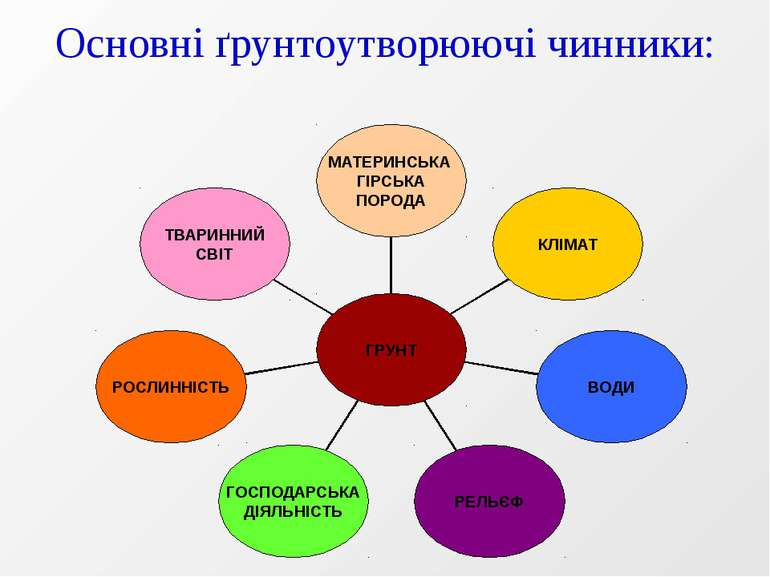 Основні ґрунтоутворюючі чинники: