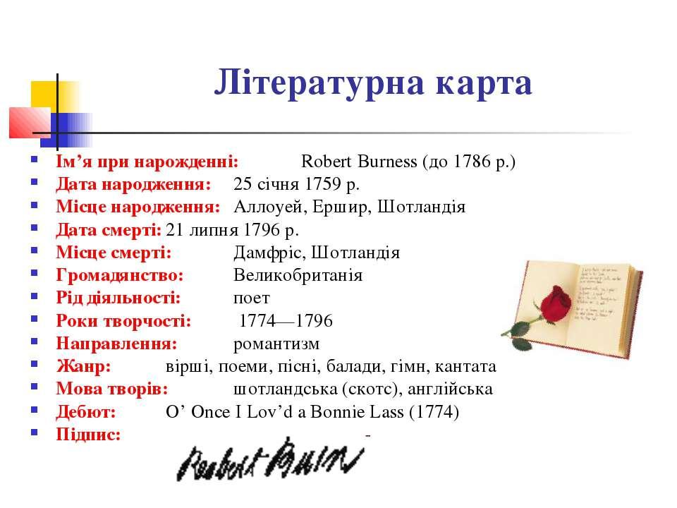 Літературна карта Ім'я при нарожденні: Robert Burness (до 1786 р.) Дата народ...