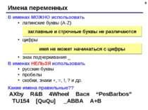 * Имена переменных В именах МОЖНО использовать латинские буквы (A-Z) цифры зн...