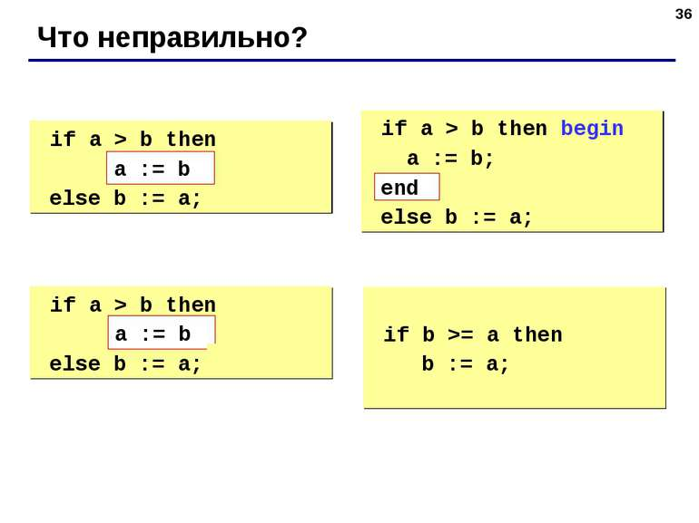 * Что неправильно? if a > b then begin a := b; else b := a; if a > b then beg...