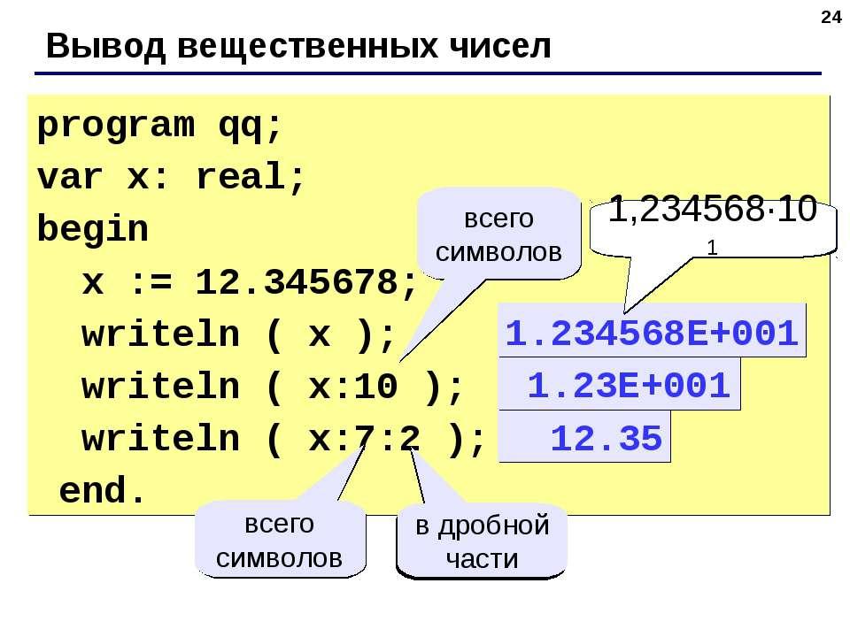 * Вывод вещественных чисел program qq; var x: real; begin x := 12.345678; wri...