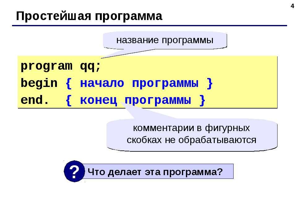 * Простейшая программа program qq; begin { начало программы } end. { конец пр...