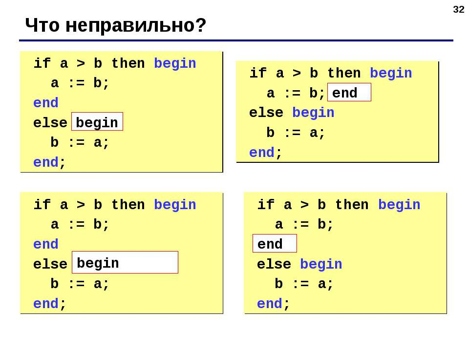 * Что неправильно? if a > b then begin a := b; end else b := a; end; if a > b...