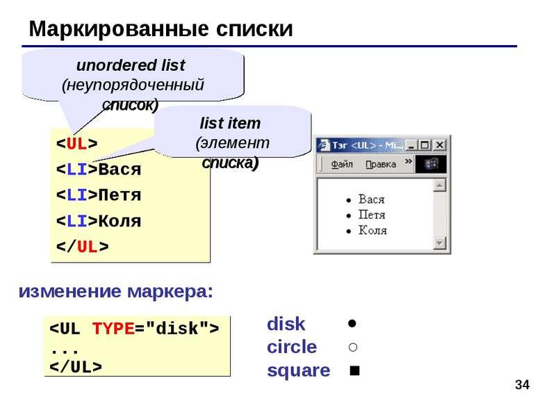 * Маркированные списки Вася Петя Коля unordered list (неупорядоченный список)...