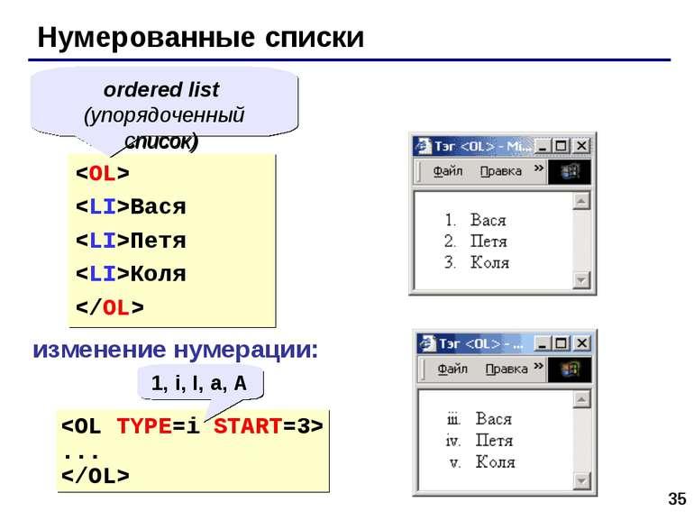 * Нумерованные списки Вася Петя Коля ordered list (упорядоченный список) изме...