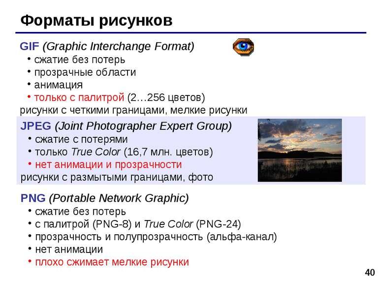 * Форматы рисунков GIF (Graphic Interchange Format) сжатие без потерь прозрач...