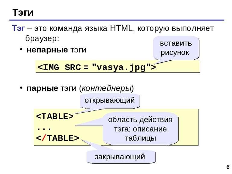 * Тэги Тэг – это команда языка HTML, которую выполняет браузер: непарные тэги...