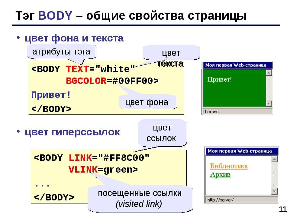 * Тэг BODY – общие свойства страницы цвет фона и текста цвет гиперссылок Прив...