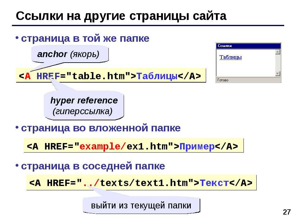 * Ссылки на другие страницы сайта Таблицы страница в той же папке anchor (яко...