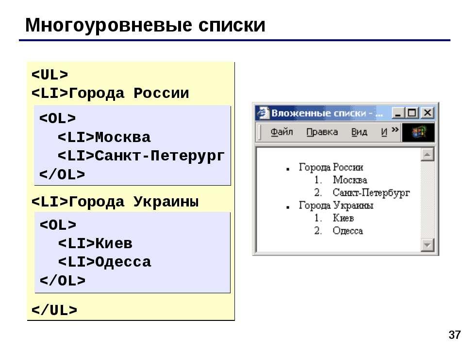 * Многоуровневые списки Города России  Города Украины  Москва Сан...