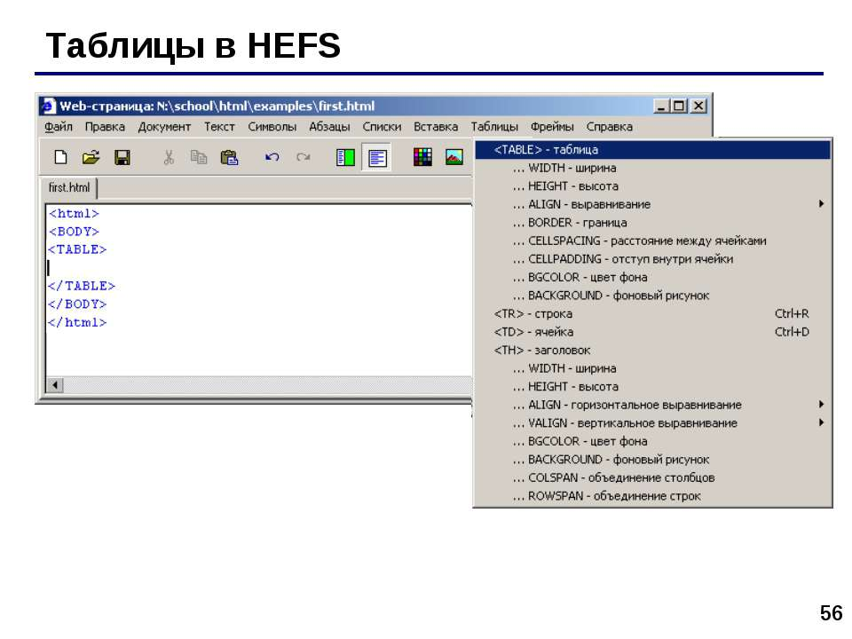 * Таблицы в HEFS