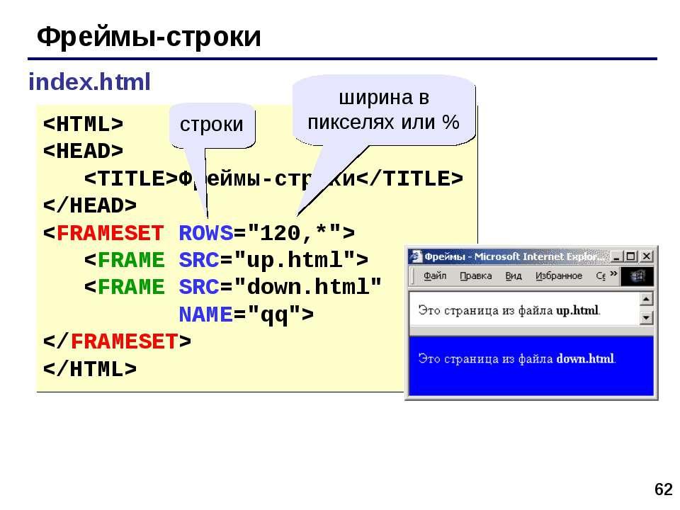 * Фреймы-строки index.html Фреймы-строки строки ширина в пикселях или %