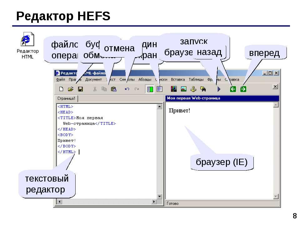 * Редактор HEFS файловые операции буфер обмена один экран запуск браузера (F9...