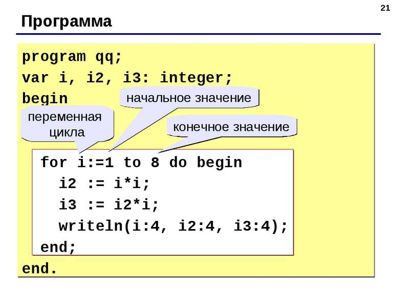 * Программа program qq; var i, i2, i3: integer; begin for i:=1 to 8 do begin ...