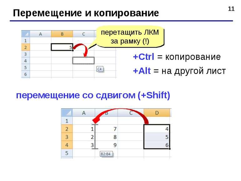 * Перемещение и копирование перетащить ЛКМ за рамку (!) +Ctrl = копирование +...