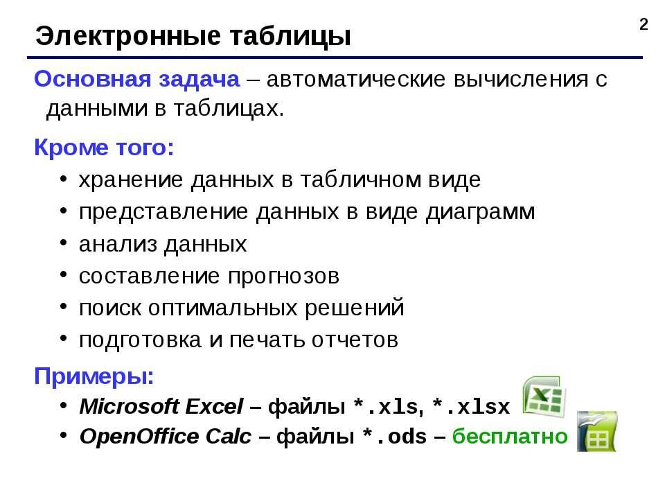* Электронные таблицы Основная задача – автоматические вычисления с данными в...