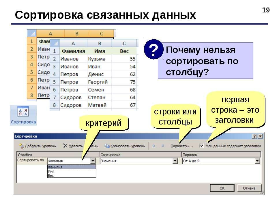 * Сортировка связанных данных критерий строки или столбцы первая строка – это...