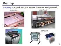* Плоттер Плоттер – устройство для печати больших изображений. перьевые струй...