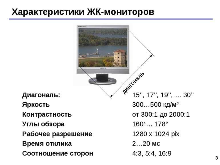 * Характеристики ЖК-мониторов Диагональ: 15'', 17'', 19'', … 30'' Яркость 300...
