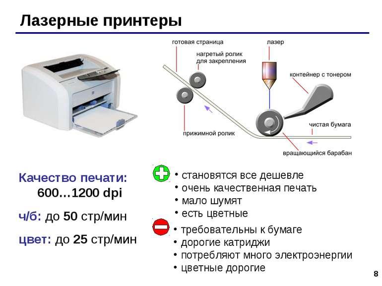 * Качество печати: 600…1200 dpi ч/б: до 50 стр/мин цвет: до 25 стр/мин Лазерн...