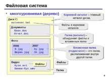 * Файловая система многоуровневая (дерево) Диск C: autoexec.bat Документы Пла...