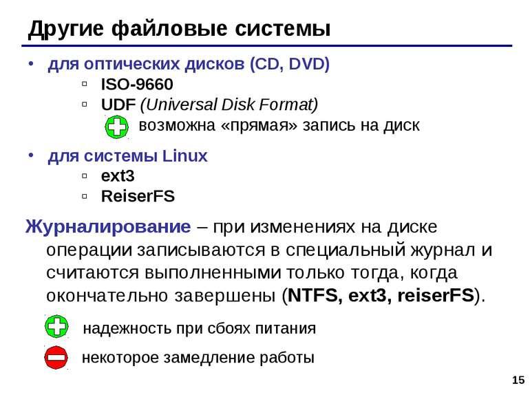 * Другие файловые системы для оптических дисков (CD, DVD) ISO-9660 UDF (Unive...