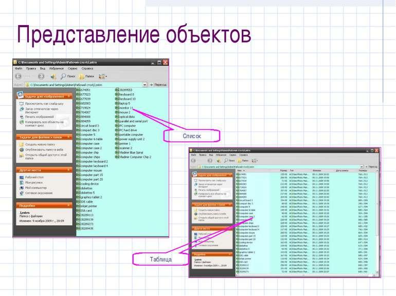 Список Таблица Представление объектов
