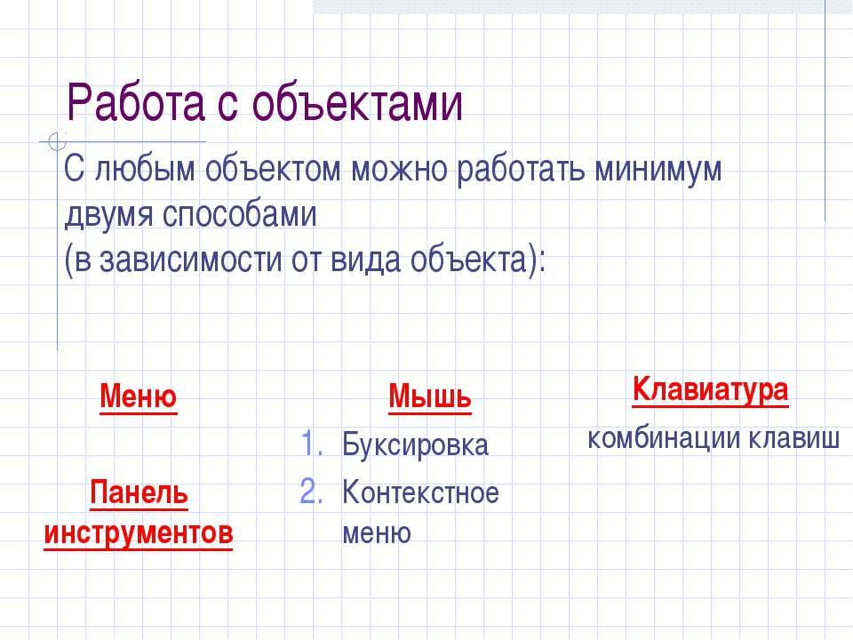 Работа с объектами Меню Панель инструментов Мышь Буксировка Контекстное меню ...