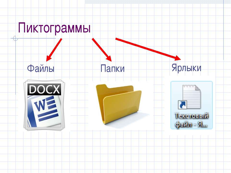 Пиктограммы Папки Файлы Ярлыки