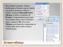 Вставка таблицы Для вставки в документ таблицы необходимо установить курсор в...