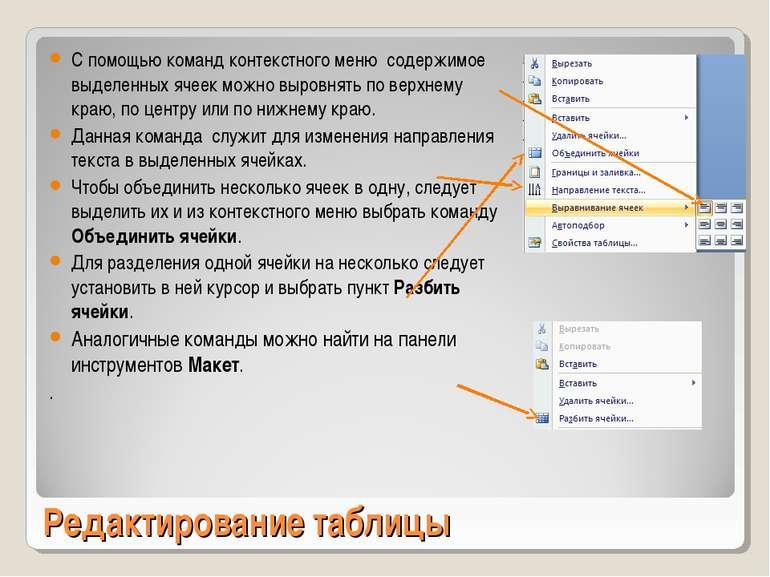 Редактирование таблицы С помощью команд контекстного меню содержимое выделенн...