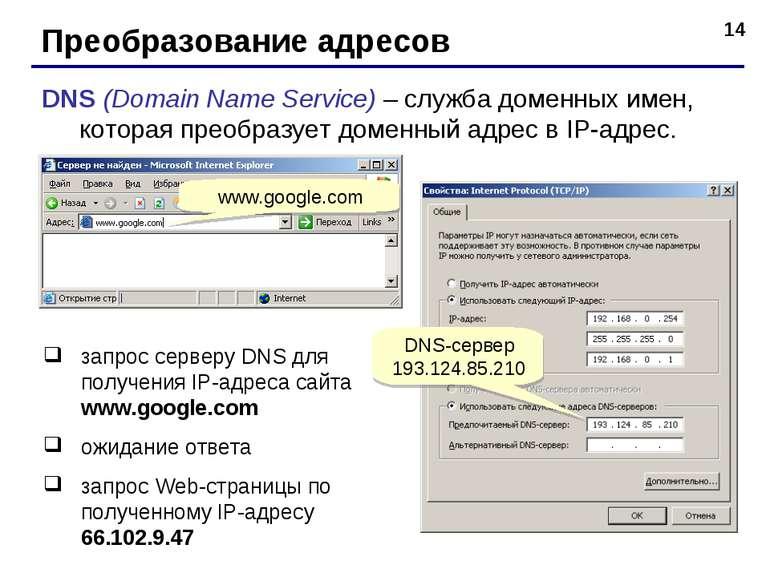 * Преобразование адресов DNS (Domain Name Service) – служба доменных имен, ко...