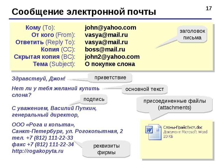 * Сообщение электронной почты john@yahoo.com vasya@mail.ru vasya@mail.ru boss...