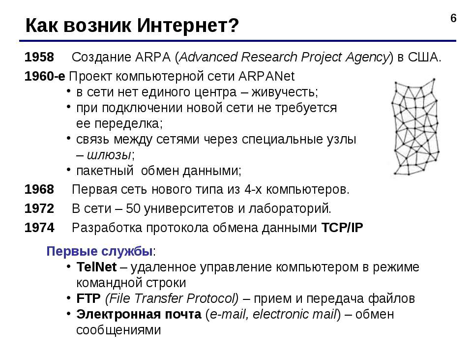 * Как возник Интернет? 1958 Создание ARPA (Advanced Research Project Agency) ...