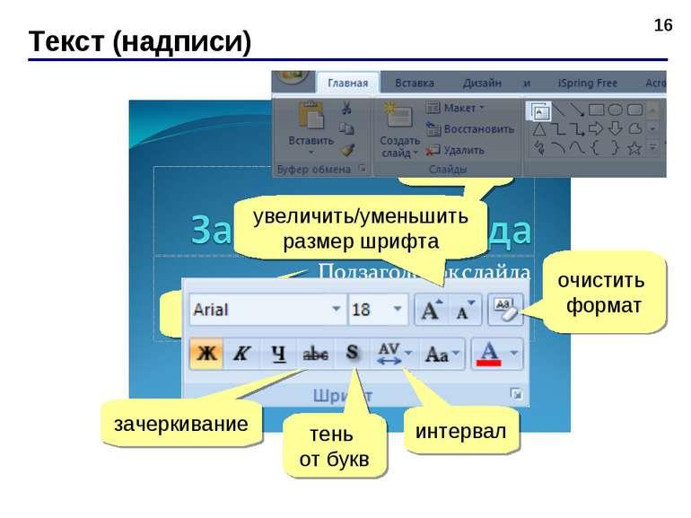 Текст (надписи) * ЛКМ ЛКМ зачеркивание тень от букв интервал очистить формат ...