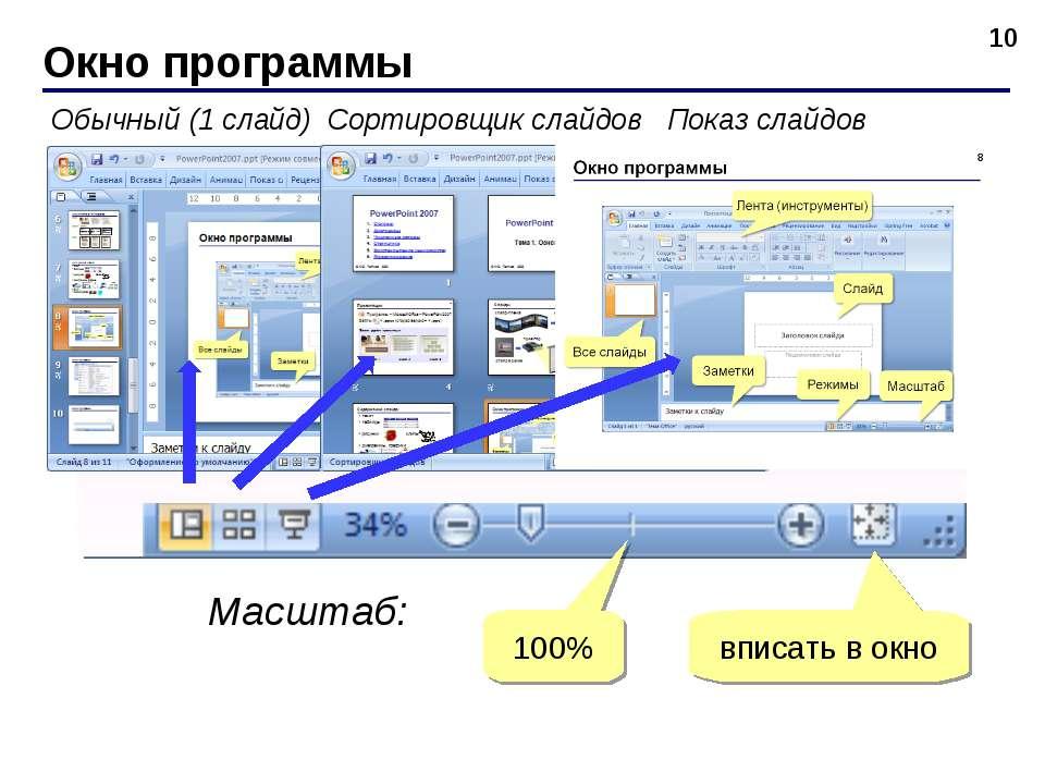 Окно программы * Обычный (1 слайд) Сортировщик слайдов Показ слайдов Масштаб:...