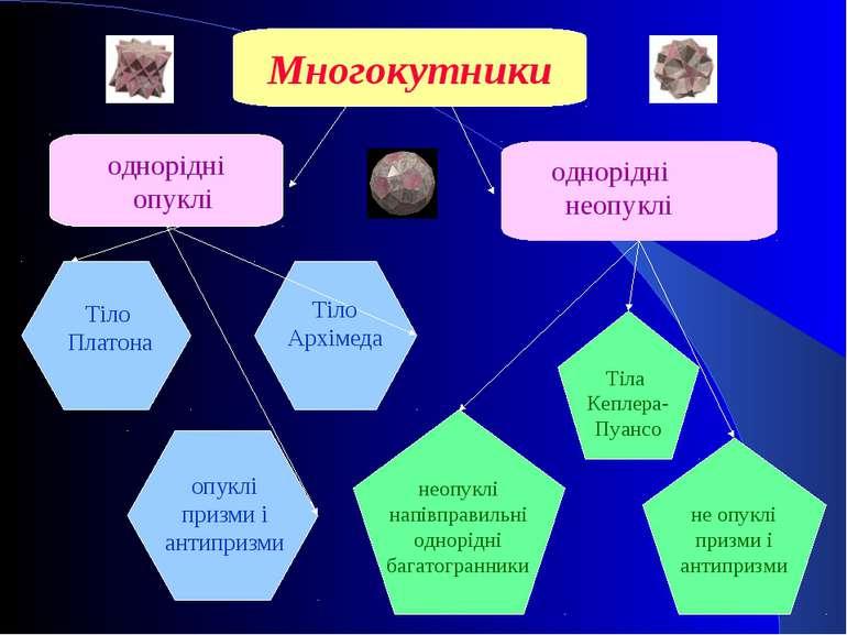 Многокутники однорідні  опуклі однорідні  неопуклі Тіло Архімеда Тіло Плато...