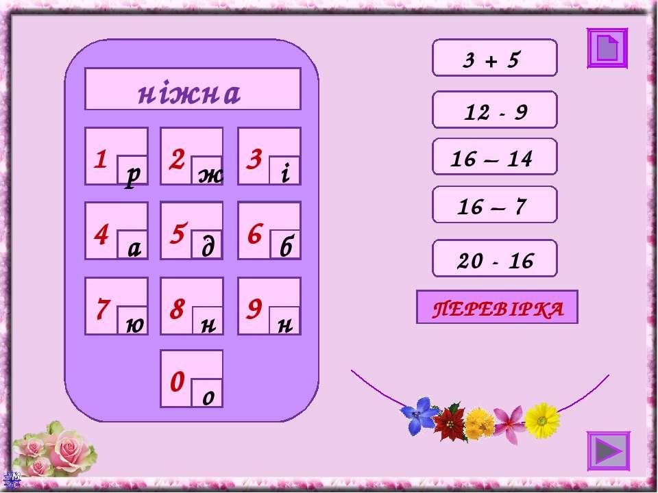 ніжна 0 4 7 8 9 1 2 3 5 6 р ж і а д б ю н н о 12 - 9 16 – 14 16 – 7 20 - 16 П...