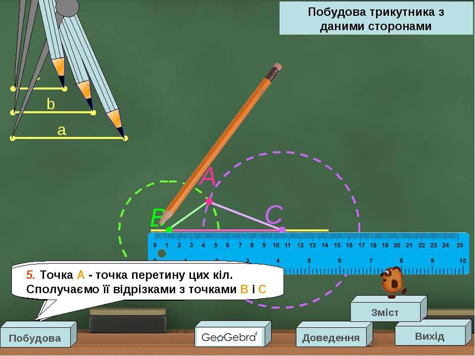 a b c B A Побудова трикутника з даними сторонами Вихід Доведення Зміст С 1. П...