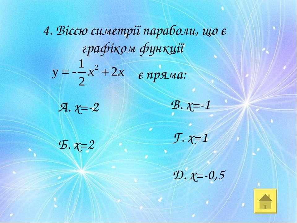 4. Віссю симетрії параболи, що є графіком функції є пряма: А. х=-2 Б. х=2 В. ...