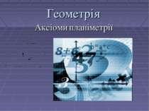 Геометрія Аксіоми планіметрії